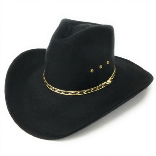 Black Cowboy Hat with Teardrop Crown. Gold & Black Metal Trim